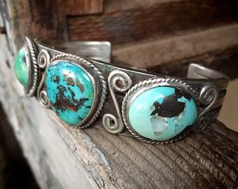 49g Navajo Turquoise Cuff Bracelet Circa 1960s, Three Stone Vintage Native American Indian Jewelry