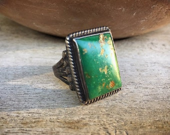 1930s Green Turquoise Ring for Men Size 12.75, Vintage Native American Indian Navajo Jewelry