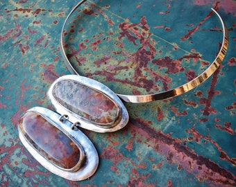 Huge Statement Agate and German Silver Pendant Collar Necklace for Woman, Modernist Jewelry