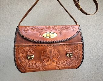 1950s Western Purse Mexican Tooled Leather Shoulder Bag Whip Stitched Edges Floral Design Cowgirl