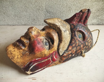 Antique Wooden Mask Chicken Rooster Man, Mexican Folk Art, Ceremonial Mask Wall Hanging