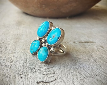 Large Turquoise Ring Native American Indian Jewelry, American Indian Ring, Vintage Turquoise Jewelry