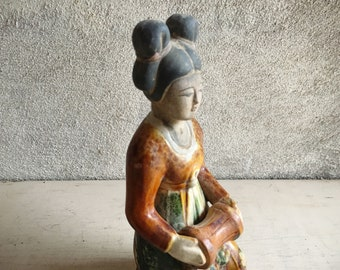 Vintage Chinese Sacai Glazed Pottery Figural Court Lady Musician, Reproduction Tang Dynasty