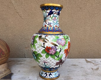 "10"" Chinese Cloisonne Vase Flowers and Bird, Chinoiserie Decor, Hand Painted Enamel"