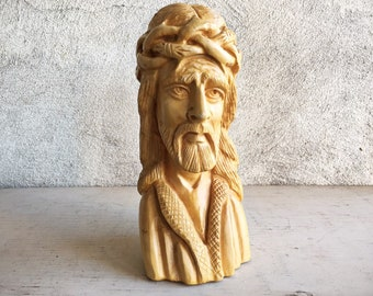 Vintage Olive Wood Carving Jesus Christ in Crown of Thorns Ecce Homo Made in Jordan, Christ Statue