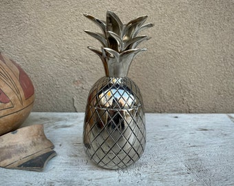 Vintage Silver Metal Pineapple Lidded Container, French Country Decor, Cottage Chic Trinket Box