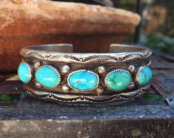 41g Navajo Five Stone Turquoise Row Cuff Bracelet for Women, Native American Indian Jewelry