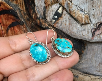 Navajo Richard Curley Oval Turquoise Dangle Earrings for Women, Southwestern Native America Jewelry