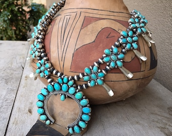165g Cluster Turquoise Squash Blossom by Navajo Pansy Johnson, Authentic Native American Indian Jewelry, 11th Anniversary Gift for Wife