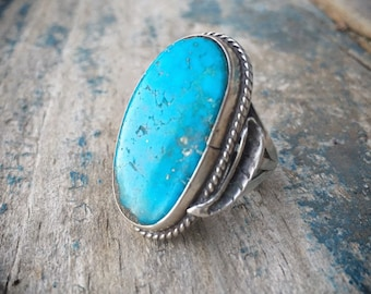 Vintage Turquoise Ring Size 6.75 Sterling Silver Navajo Ring, Native American Indian Jewelry