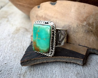 Rectangular Turquoise Ring for Men Size 11, Navajo Made Native American Indian Jewelry Southwest