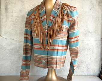 1980s Size S Patricia Wolf Short Southwestern Blazer Padded Shoulders and Fringe Made in Texas