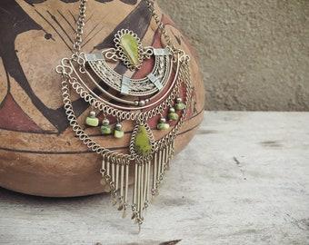 Serpentine Tribal Silver Bohemian Jewelry, Ethnic Necklace, Boho Chic, Hippie Jewelry