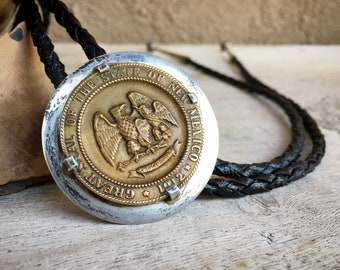 Sterling Silver Bolo Tie with Great Seal of the State of New Mexico Coin, Land of Enchantment Gift