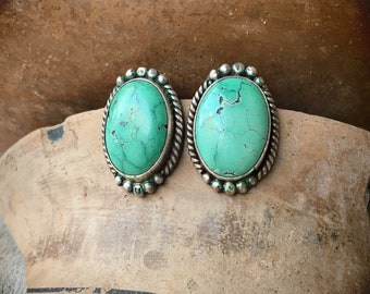 Fred Harvey Era Cerrillos Turquoise Post Earrings for Women, Old Pawn Native American Indian Jewelry