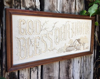Vintage Needlepoint Cross Stitch God Bless Our Home Framed Sampler Wall Art Hanging