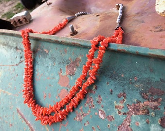 51g Two Strand Natural Coral Necklace for Women, Native American Indian Jewelry, Mother's Day Gift for Her