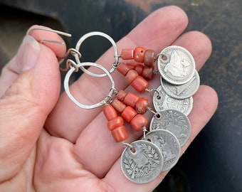 Dangle Earrings Made from Late 1800s Guatemala Silver Real Coin and Antique Coral Beads
