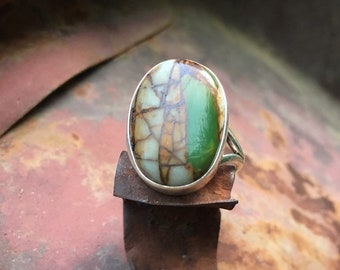 Oval Ribbon Boulder Turquoise Ring for Women Size 6.5 Sterling Silver Navajo Native American Indian Jewelry