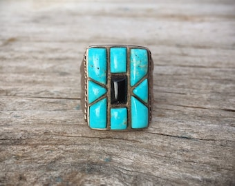 Old Pawn Black Onyx Turquoise Ring for Men Size 9.75, Native American Indian Jewelry Vintage Turquoise