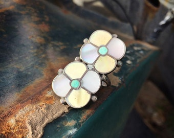 Vintage Mother of Pearl and Turquoise Ring for Women Size 7.5, Channel Inlay Native America Indian Jewelry
