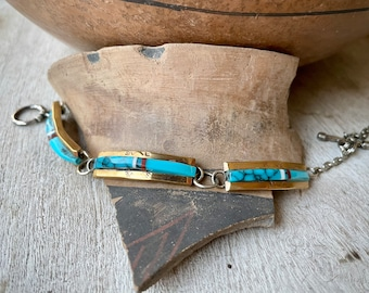 Sterling Silver Gold Tone Overlay Turquoise Panel Link Bracelet Navajo Nez, Channel Inlay