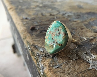 Simple Turquoise Ring for Women Size 7 Round Ring Sterling Silver Southwestern Jewelry
