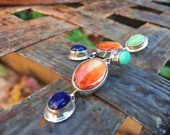 Spiny Oyster Earrings for Women Multi Color Stone Lapis Lazuli Gaspeite Dangles Native American Indian
