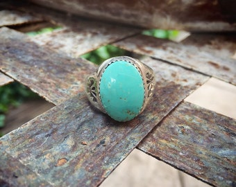 Men's Turquoise Ring Size 10.5, Native American Indian Jewelry, Simple Sterling Silver Turquoise Band