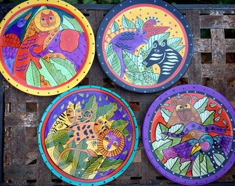 """1998 Laurel Burch Set of Four Collectible Plates 8"""" Snack Salad Size Brightly Color, Jungle Animal"""