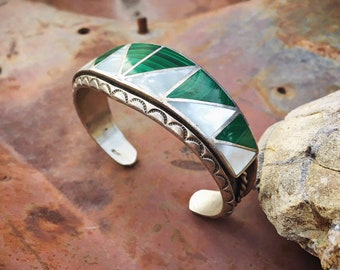 Vintage Channel Inlay Malachite Mother of Pearl Cuff Bracelet for Women, Native American Indian Jewelry