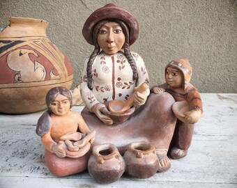Vintage Peruvian Pottery Folk Art Mother and Children, Southwestern Decor, Gift for Mother