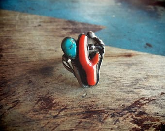 Vintage Coral Turquoise Ring Cactus Jewelry, Bohemian Rings, Native America Jewelry