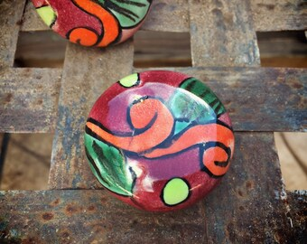 Mexican Ceramic Drawer Pulls Rustic Home Decor, Ceramics and Pottery, Talavera Tile, Bohemian Decor, Orange Mexican Tile Drawer Knob