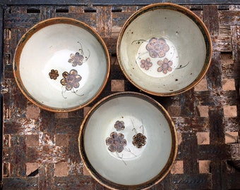 Three Vintage Bowls Signed Ken Edwards Pottery, Rustic Kitchen Decor, Mexican Pottery