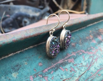 Vintage Sterling Silver Druzy Crystal Earrings for Women, Gemstone Minerals Jewelry, Rock Hound