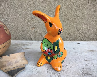 Talavera Rabbit or Kangaroo Figurine Southwestern Mexican Decor, Patio Decoration, Bunny Lover