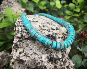 Turquoise Heishi Necklace for Women, Southwestern Jewelry, Native American Indian Santo Domingo Jewelry