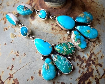 19gm Sterling Silver Turquoise Cluster Earrings Dangles, Navajo Native American Indian Jewelry