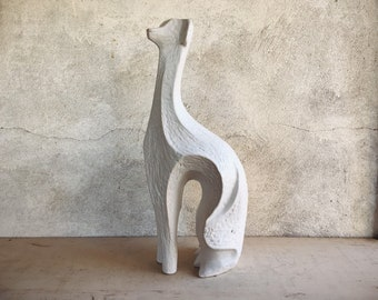 "18"" Tall Mid Century Art Pottery Stylized Greyhound Statue in Style of Jonathan Adler, White Ceramic Dog"