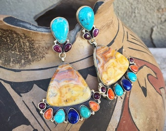 Large Multi Stone Yellow Jasper and Turquiose Earrings for Women, Navajo Native American Indian Jewelry