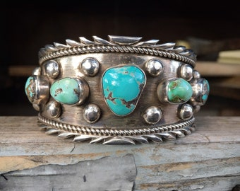 103g Navajo Five Stone Turquoise Cuff Bracelet for Men Women, Navajo Native America Indian Jewelry