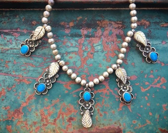 Vintage Turquoise Mother of Pearl Pendants on Silver Bead Necklace for Women, Native American Indian Jewelry