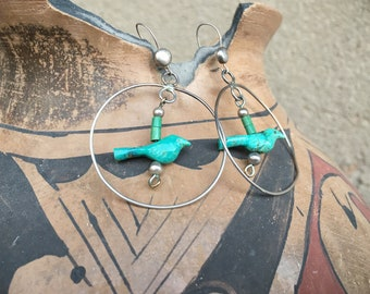 1970s Turquoise Bird Fetish Sterling Silver Hoop Earrings for Women, Native American Indian Jewelry
