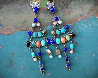 28g Navajo Multi Stone Turquoise and Lapis Lazuli Chandelier Earrings for Women, Native American Indian Jewelry, Blue Black Wedding Earrings