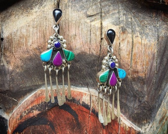 Taxco Silver Multi Stone Turquoise Earrings with Dangles, 925 Sterling Silver Malachite Charoite Onyx
