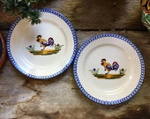 Pair St. Clement France Pottery CocoRico Rooster Salad Plates Faience, Country Cottage Kitchen Decor, Chicken Lover Gift, French Luneville