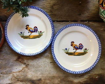Pair St. Clement France Pottery CocoRico Rooster Salad Plates Faience, Country Cottage Kitchen Decor