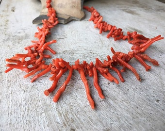 Vintage Natural Red Coral Branch Bead Choker Necklace for Women, Native American Indian Jewelry