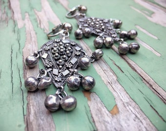Vintage Sterling Silver Earrings with Balls Clip On Israeli Art Deco Earrings, Ethnic Dangles